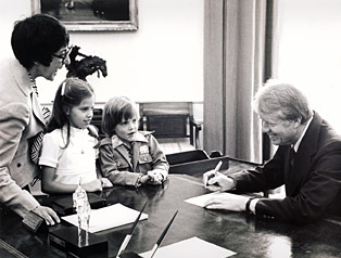 Midge with Carter and Kids in Oval Office